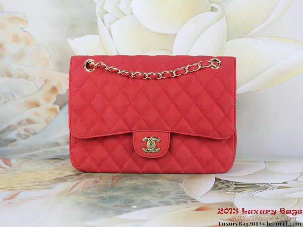 Chanel 2.55 Series Flap Bag Red Original Nubuck Leather A1112 Gold