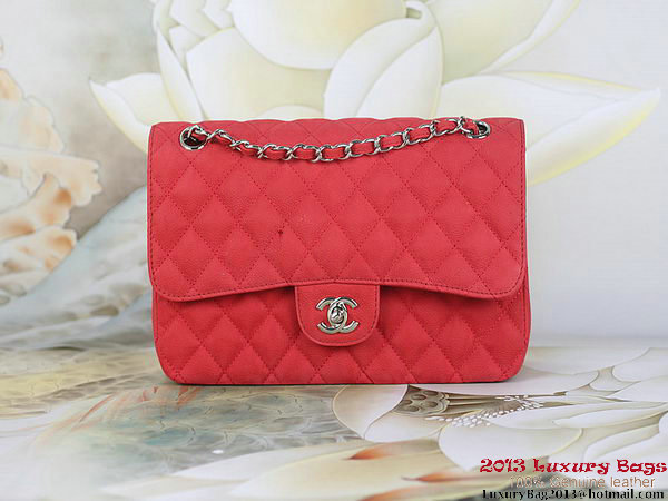 Chanel 2.55 Series Flap Bag Red Original Nubuck Leather A1112 Silver