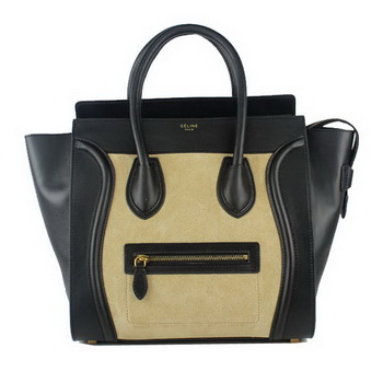Celine Luggage Mini Tote Bag Original Leather 88022 Black&Apricot