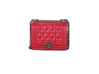Boy Chanel mini Flap Shoulder Bag Sheepskin Leather A67085 Red