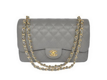 Chanel Jumbo Quilted Classic Cannage Patterns Flap Bag A58600 Grey Gold