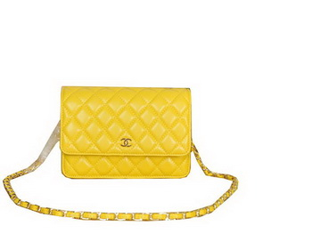 Chanel A33814 Sheepskin Leather mini Flap Bag Yellow