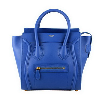 Celine Luggage Micro Tote Bag Original Ferrari Leather 88023 Blue