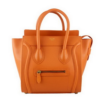 Celine Luggage Micro Tote Bag Original Ferrari Leather 88023 Orange