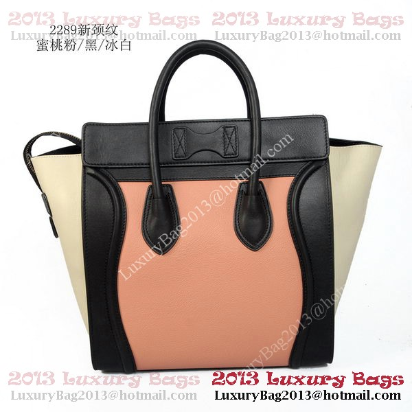 Celine Luggage Mini Tote Bag Original Leather Pink&Black&OffWhite