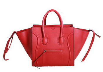 Celine Luggage Phantom Original Grainy Leather Bags C3341 Red
