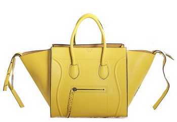 Celine Luggage Phantom Original Grainy Leather Bags C3341 Yellow