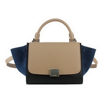 Celine mini Trapeze Bag Original Leather 88038 Apricot&Black&RoyalBlue