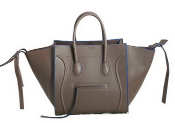 Celine Luggage Phantom Original Grainy Leather Bags C3341 Dark Khaki