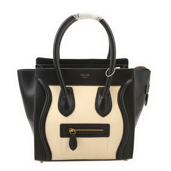 Celine Luggage Micro Boston Bag Suede&Calf Leather Black&Apricot
