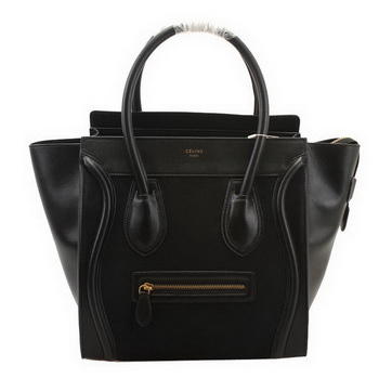 Celine Luggage Mini Boston Bags Suede Leather 98169 Black
