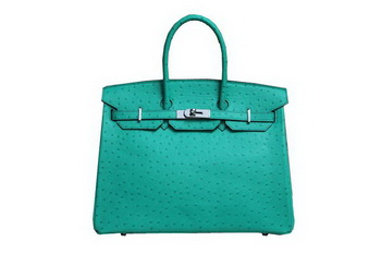 Hermes Kelly 35cm Top Handle Bag Green Ostrich Leather Silver