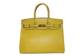 Hermes Kelly 35cm Top Handle Bag Lemon Ostrich Leather Gold