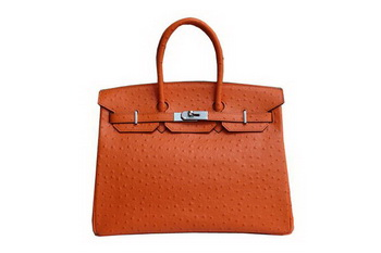 Hermes Kelly 35cm Top Handle Bag Orange Ostrich Leather Silver