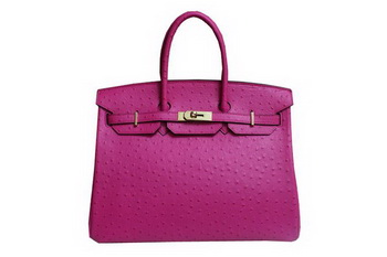 Hermes Kelly 35cm Top Handle Bag Peach Ostrich Leather Gold
