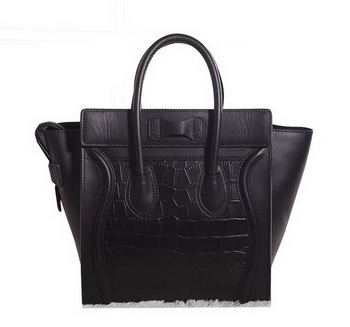 Celine Luggage Micro Boston Bag Croco Leather 3307 Black