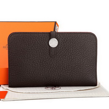 Hermes Dogon Combined Wallet A508 Dark Brown
