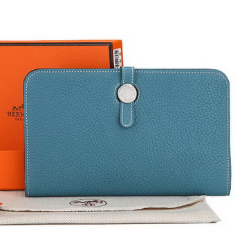 Hermes Dogon Combined Wallet A508 Light Blue