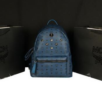 MCM Stark Backpack Jumbo in Calf Leather 8006 RoyalBlue