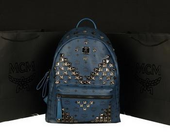 MCM Stark Backpack Jumbo in Calf Leather 8100 RoyalBlue
