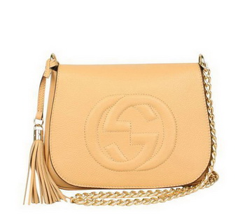 Gucci Broadway Calf Leather Hard Case Clutch 323191 Beige