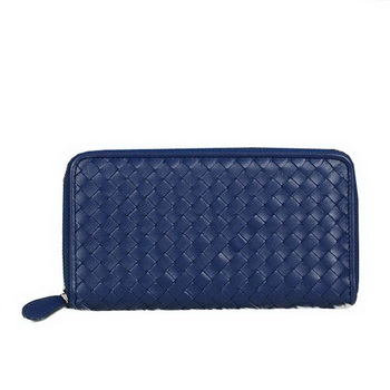 Bottega Veneta Intrecciato Nappa Zip Around Wallet BV20017 RoyalBlue