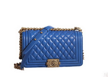 Chanel Boy Flap Shoulder Bag in Blue Lambskin Leather A67086 Gold