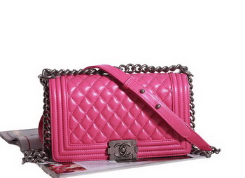 Chanel Boy Flap Shoulder Bag in Rose Lambskin Leather A67086 Silver