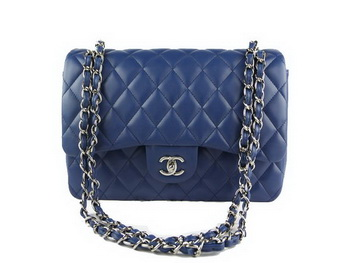 Chanel Classic Flap Bag 1113 RoyalBlue Original Sheepskin Leather Silver