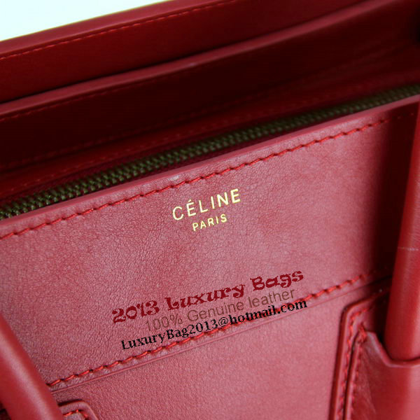 Celine Luggage Mini Bag Smooth Leather 88022 Red
