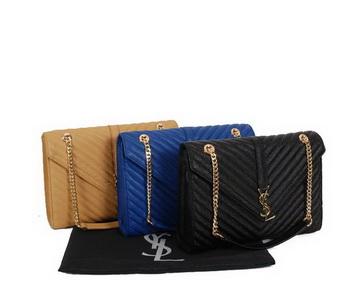 Yves Saint Laurent Classic Monogramme Flap Bag Y9201 Apricot&Blue&Black