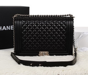 Chanel Boy Flap Shoulder Bag in Black Original Leather A67087 Silver