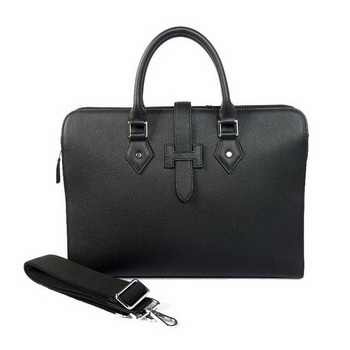 Hermes Mens Briefcase Calf Leather 3309 Black