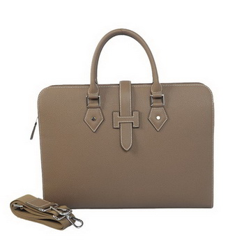 Hermes Mens Briefcase Calf Leather 3309 Grey