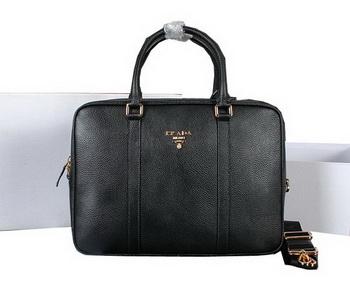 Prada Grainy Calf Leather Briefcase 80661 Black