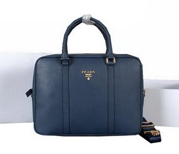 Prada Grainy Calf Leather Briefcase 80661 Blue