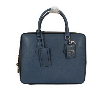 Prada Original Leather Briefcase 305M Blue