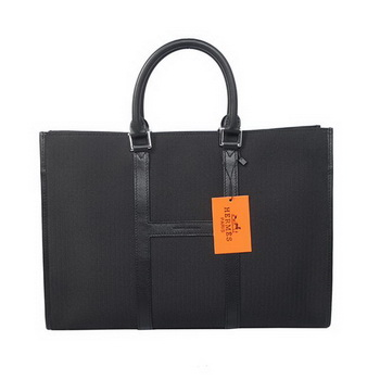 Hermes Mens Briefcase Canvas & Leather H1691 Black