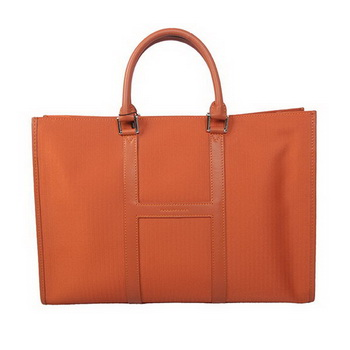 Hermes Mens Briefcase Canvas & Leather H1691 Orange
