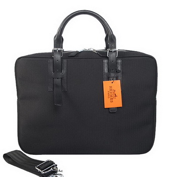 Hermes Mens Briefcase Canvas & Leather H1702D Black
