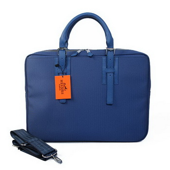 Hermes Mens Briefcase Canvas & Leather H1702D Blue