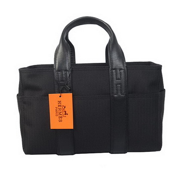 Hermes Tote Bag Canvas & Leather H858S Black