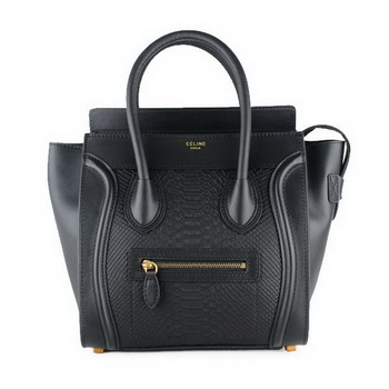 Celine Luggage Micro Bag Snake Leather 88023 Black