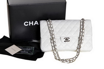 Chanel A1112 2.55 Series Flap Bag Original Caviar Leather White