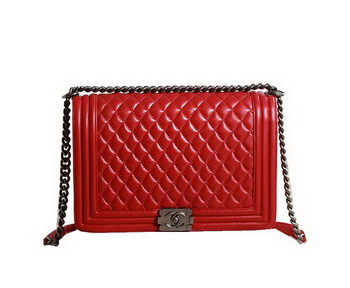 Chanel Boy Flap Shoulder Bag in Original Leather A67087 Red