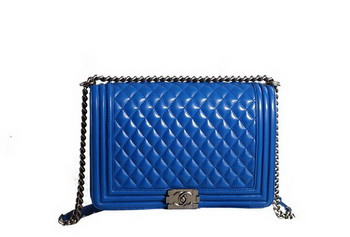 Chanel Boy Flap Shoulder Bag in Blue Original Leather Silver