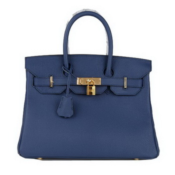 Hermes Birkin 30CM Tote Bag RoyalBlue Original Leather H30 Gold