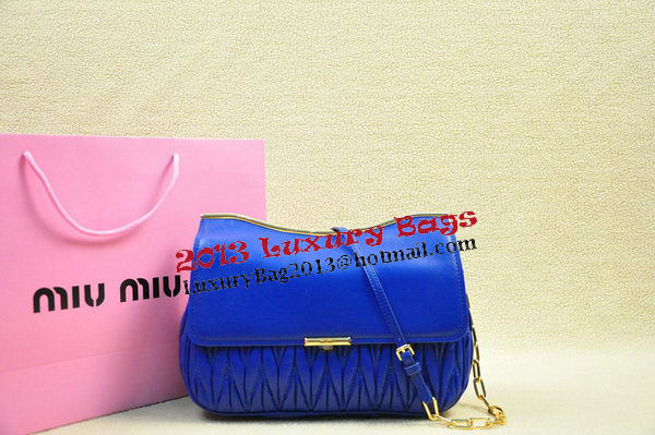 miu miu Matelasse Leather Shoulder Flap Bag RN1899 RoyalBlue