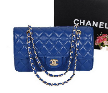 Chanel Classic Flap Bag 1113 RoyalBlue Sheepskin Leather Gold