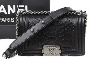 Chanel Boy Flap Shoulder Bag Black Original Python Leather A67085 Silver